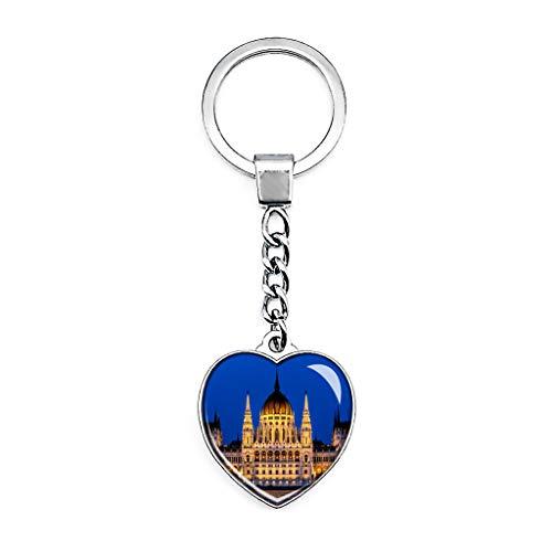 Hqiyaols Keychain Ungarn Ungarisches Parlamentsgebäude Budapest Schlüsselkette Kreative Doppelseitige Herz-Kristall-Schlüsselkette Tourist Souvenir Metal -