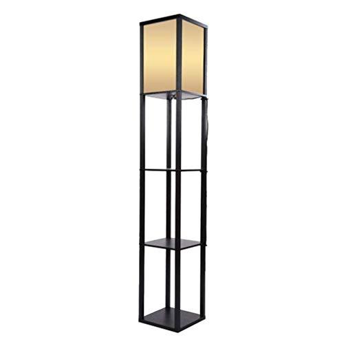 Schwarzes Holz Regal (Poualss Vintage Stehlampe mit Regalen, Innenbeleuchtung Holz Stehlampe Mit Regalen Für Schlafzimmer und Wohnzimmer - Schwarz)