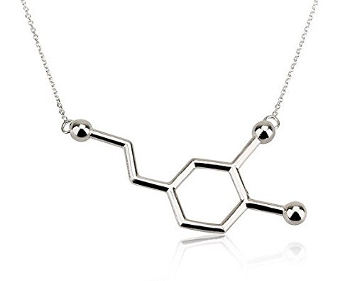 mese-london-silber-dopamin-anhanger-chemie-struktur-gluck-halskette-elegante-geschenkverpackung
