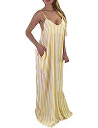 041eced589 ZHRUI Venta de liquidación Vestido de verano Mujeres Sexy Hombro fuera de  la raya Sin mangas Vestido largo Vestido suelto sin cuello…
