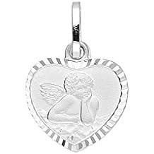 14 Kt Baby Taufe Kommunion Schutz Engel Weißold Gold 585 mit Kette Silber 925