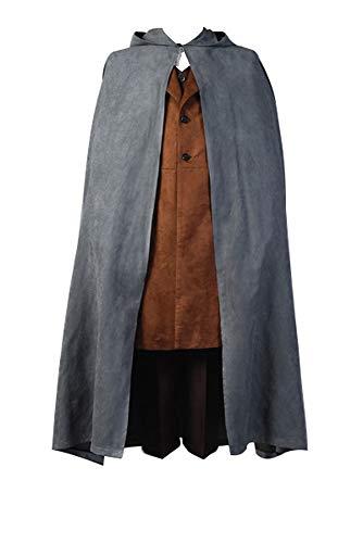 RedJade Frodo Baggins Herr der Ringe Umhang Cosplay Kostüm Cape Mantel Komplett Set Herren S (Frodo Kostüm)