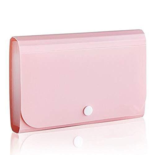 Mini Fächermappe tragbar Aktenmappe Praktische Dokumententasche für Büro Zubehör Pink - Lücke Kordelzug