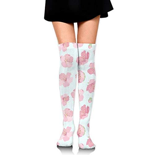 Comfort&products Pink Sakura Cherry Tree Blossom Womens Knee High Socks Novelty Socks Funny Tube Leg Stockings