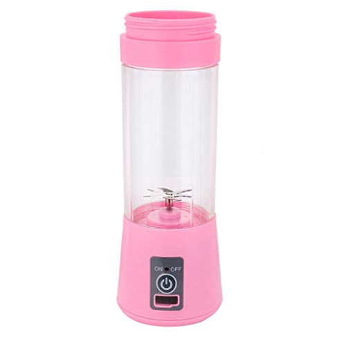 Tragbarer Mixer, 12shage 380ml Smoothie Maker Mixer, Multifunctional Elektrischer Mini Standmixer mit 6 Edelstahlmesser USB 2000mAh Akku für Smoothies, Obst und Gemüse (Rosa)