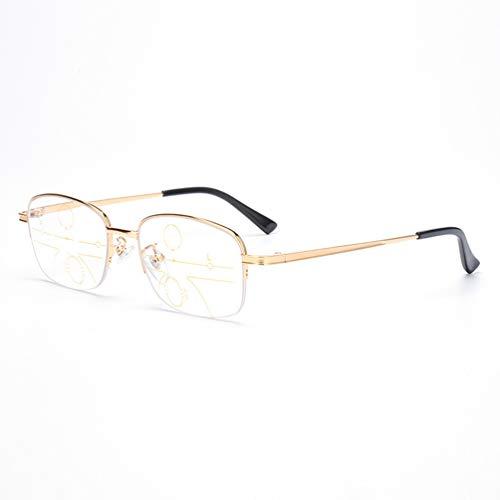 LHPT Blu-Ray-Brille, Mobile Brille, Lese-Optik, Anti-Blue-Strahlen, Metallbrille, progressiver Multi-Fokus, 1 Spiegel, doppelte Verwendung, Anti-Ermüdungserscheinungen