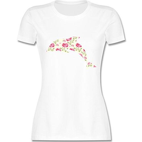 Sonstige Tiere - Delfin Blumen Rose - tailliertes Premium T-Shirt mit Rundhalsausschnitt für Damen Weiß