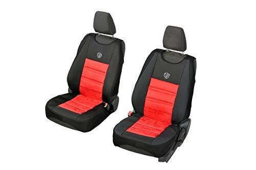 Coprisedili universali Hades nero e rosso per Opel Adam - 2 pezzi. Un set di sedili anteriori