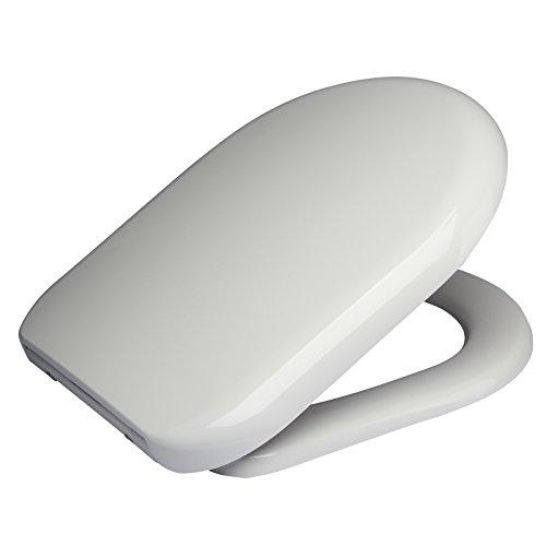 WOLTU 2443 Premium WC Sitz ABSENKAUTOMATIK TOILETTENDECKEL TOILETTENSITZ WC SITZ Exclusive Weiß (Soft-wc-sitz Oval)