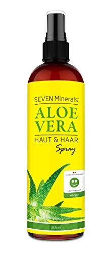Aloe Vera SPRAY für Haut & Haar - 99% Bio, 355 ml - 100% Natürlich, Rein & Ohne Zusatzstoffe - Extra Stark - OHNE VERDICKUNGSMITTEL, zieht schnell ein ohne Rückstände - aus ECHTEM SAFT, NICHT PULVER -