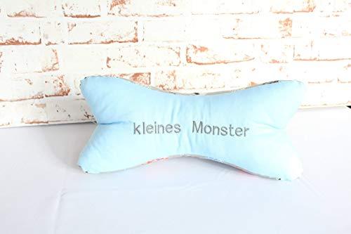 Leseknochen ~ Nackenkissen Nackenrolle Kissen ~ Geschenk Junge Baby ~ Mit Stickerei: kleines Monster ~ blau grau ~ handmade