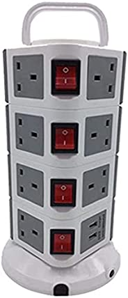 Vertical Power Strip 4 layers, 11 outlets with 2 USB ports, black,714