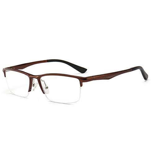 Shiduoli Mode Männer Brillengestell tragen Brillengestell Halbrahmen quadratische Brillen Nicht verschreibungspflichtige Brillen für Frauen (Color : Brown)