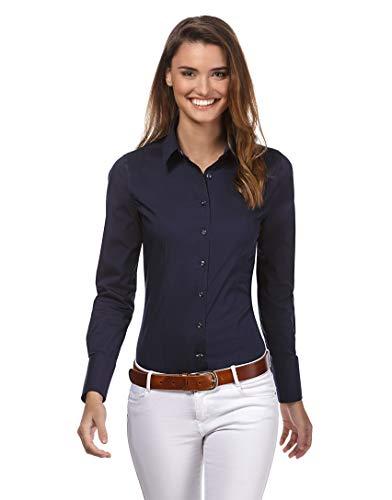 Vincenzo Boretti Damen Bluse besonders tailliert mit Stretch Langarm Hemdbluse elegant festlich Kent-Kragen auch für Business und unter Pullover dunkelblau 42