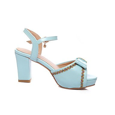 CatThief Damen-Sandalen-Outddor Kleid-Kunstleder-Blockabsatz-Fersenriemen Club-Schuhe-Weiß Blau Rosa White