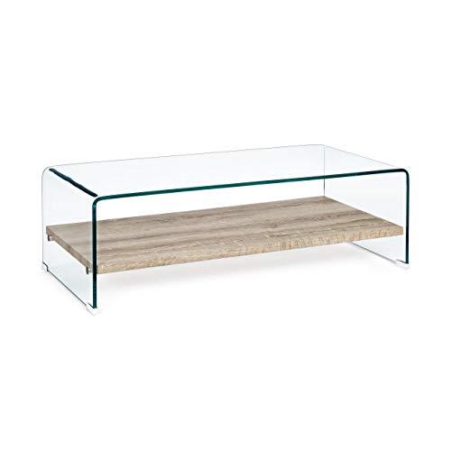 ARREDinITALY Table rectangulaire Verre avec Plan Bois 110 x 55