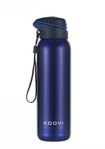 Kooyi Thermobecher aus Edelstahl 500 ml, Sports Isolierbecher Reisebecher mit eingebautem Stroh, 100% auslaufsicher (Blau)