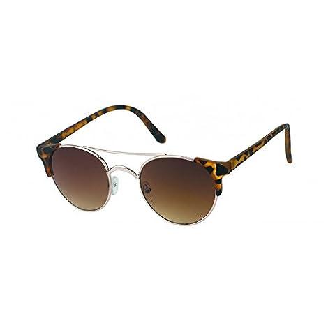 Chic-Net Sonnenbrille rund Vintage Metallrahmen John Lennon Retro 400UV Cat Eye schmal getigert