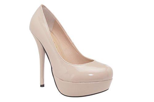 Andres - Machado - AM453 - Wunderschöne High Heels mit Plateau aus verschiedenen Materialien.EU 32 bis 35 / 42 bis 45 Lack Beige