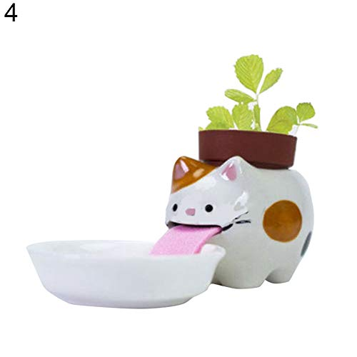 Süßes Keramik-Tier-Trinktopf mit selbstwässernden Pflanzensamen - 4# 4#