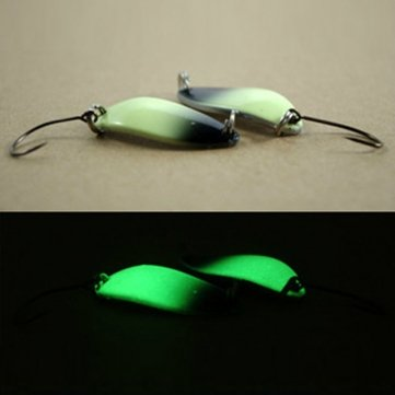 Souked Sequins Lure Bait Luminous Single Hook Spoon Metal Fishing Lure by Bheema