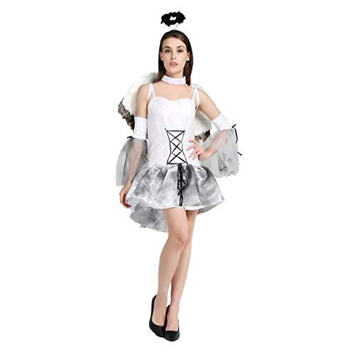 thematys® Costume da Angelo Bianco per Donna - Perfetto per Cosplay, Carnevale e Halloween - Taglia Unica 160-180 cm