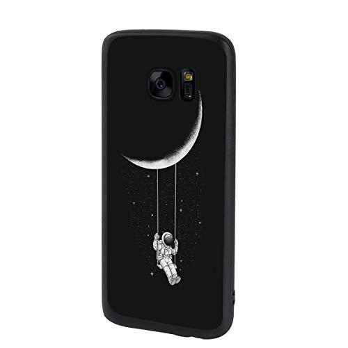 Yoedge Coque Samsung Galaxy S7 Edge, Etui en Silicone avec Noir Motif Design Antichoc Housse de Protection Flim TPU Gel Case Cover Coque pour Telephone Samsung S7 Edge 5,5 Pouces, Astronaute
