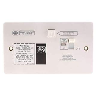 MK Electric Logic Plus 13A, BS Fixing, Active, Single Gang RCD Socket, Urea Formaldehyde, Flush Mount, Switched, IP2XD