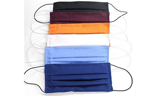 """5 Mascherine colorate artigianali in doppio strato di puro cotone colori assortiti con tasca per inserimento ulteriore protezione""""COLORI NON PERSONALIZZABILI"""""""