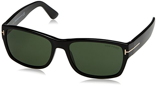 Tom Ford Herren FT0445 01N 58 Sonnenbrille, Schwarz (Nero Lucido/Verde)