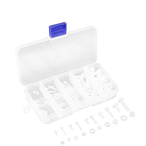 150pcs Nylon Schrauben Muttern Scheiben Verbindungselement Sortiment im Karton M2 M2.5 M3 M4 M5