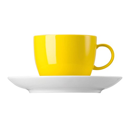 Thomas Sunny Day Tasse à Café avec Soucoupe, Porcelaine, Neon Yellow / Jaune, Passe au Lave-Vaisselle, 20 cl, 2 Pièces, 14740