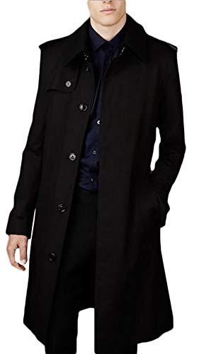 PFSYR Herren Revers Mantel, warm im Herbst und Winter mittleren und Langen Abschnitt Zweireiher Mode Trenchcoat Jacke (Farbe : SCHWARZ, größe : M)