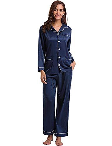 Abollria set pigiama da donna in raso pigiama lungo con maniche lunghe in seta camicia da notte pigiama donna per tutte le stagioni (medium, blu navy)