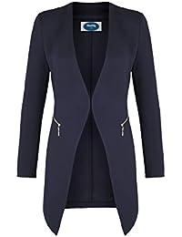 4tuality Damen Blazer lang kragenlos mit Zipper