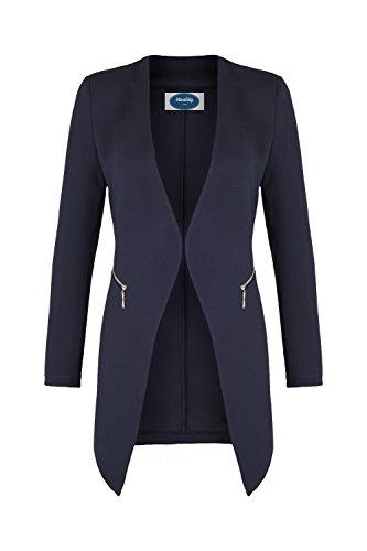 AO Long Blazer kragenlos mit Zipper blau Gr. M