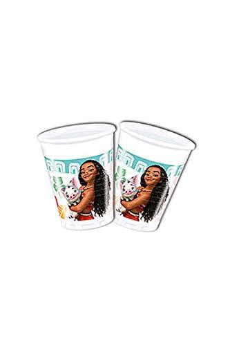 Disney 49767Moana Décoration de fête Tasses Plastique, 200ML - Lot de 8