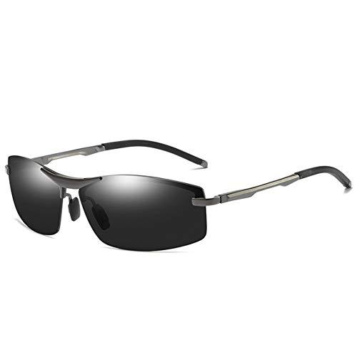 Sport Polarisierte Sonnenbrillen für Männer, UV-Schutz Sonnenbrille Nightguide hd Brille Anti-Fog Ideal zum Fahren Laufen Angeln Golf mit Brillentuch,Black/Black