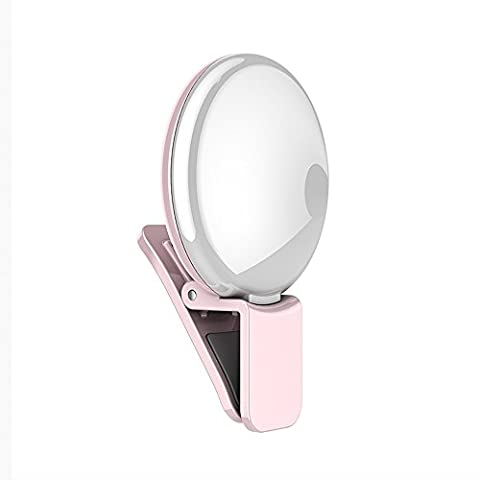 Cyxus [3 Adjustable Brightness] Clip-on Round Portable Mini Spot Self Fill Light Spotlight Selfie Flash, Night Using For Any Cell Phone Tablets Apple iPhone 6 Plus/6s/6Plus/5s/5 (NO Install Any APP) Pink