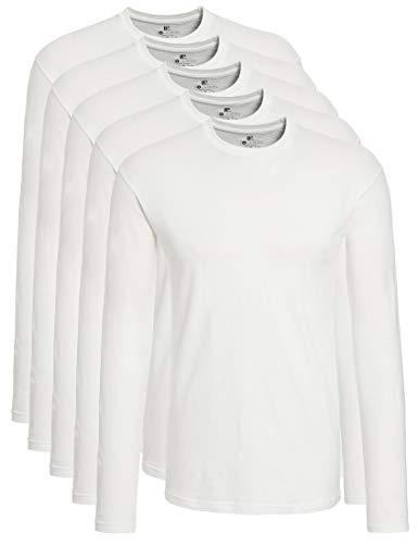 Lower East 5er Pack Herren Langarmshirt mit Rundhals-Ausschnitt, in verschiedenen Farben 5er Pack, Weiß, XXX-Large -