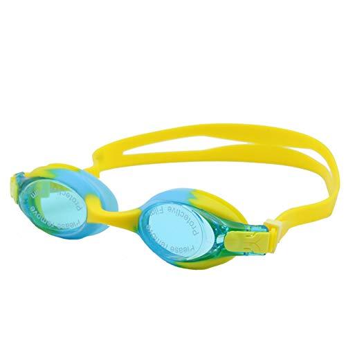 Epinki Kinder ABS Schwimmbrille HD Anti-Beschlag Outdoor Schutz Brille Silikon Schwimmende Schutzbrille UV-Schutz Blau Gelb