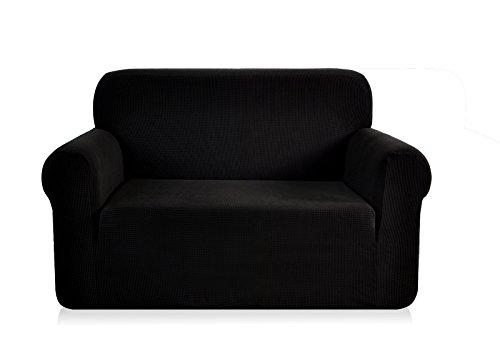 Ebeta Elastisch Sofa Überwürfe Sofabezug, Stretch Sofahusse Sofa Abdeckung Hussen für Sofa, Couch, Sessel 2 Sitzer (Schwarz, 145-185 cm)