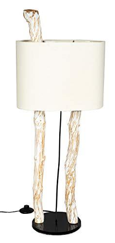 Stehlampe Höhe 95cm Stehleuchte Treibholz Teakholz Holz Lampe Leuchte Naturholz Unikat Weiß Braun Shabby Chic Holzdeko Treibholzlampe