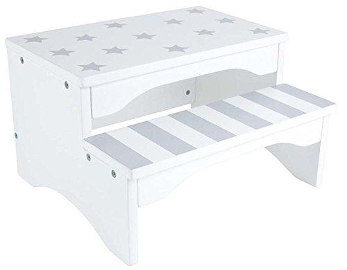 JaBaDaBaDo Treppenstuhl Tritthocker in weiß grau mit Sternen und Streifen