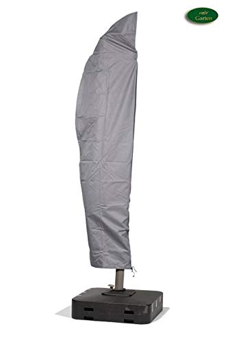Mehr Garten Ampelschirm Schutzhülle/Abdeckhaube - Premium/wasserdicht/Polyester Oxford 600D grau - Schirmgestell gebogen/Größe L/Durchmesser 300-400cm