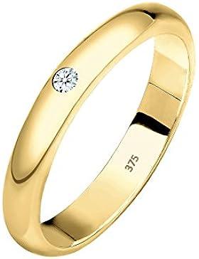 ELLI PREMIUM  Damen-Ring Ehering Klassiker 375 Gelbgold Diamant (0.03 ct) Brillantschliff weiß