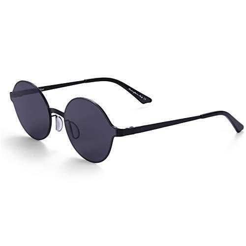 LKVNHP Hochwertige Super Licht Sonnenbrille Männer & Frauen Spiegel Beschichtung Sonnenbrille Runden Kreis Sonnenbrille Retro VintageSchwarz Vs Schwarz