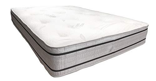 Havnyt Dorchester 2000 Taschen-Luxus-Matratze mit Memory-Schaum, natürlicher Bio-Stoff, getuftet, cremefarben, 1,8 m Super King -