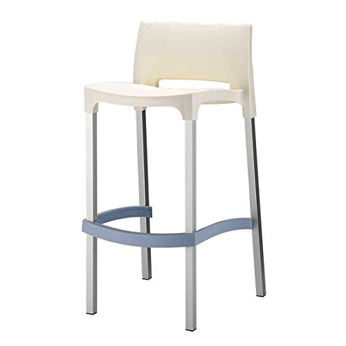 CLP weatherproof outdoor aluminium bar stool GIO, seat height 75 cm, very stable and extremely light (4 kg), up to 5 colours selectable cream