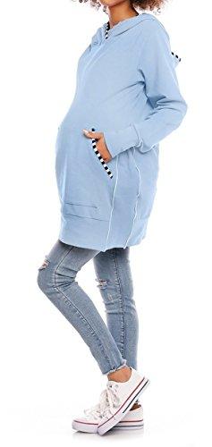 Happy Mama. Femme Sweat à Capuche Grossesse Latérales Réglables Maternité. 315p Bleu Clair
